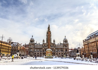 UK, SCOTLAND, GLASGOW - March 1, 2018: George Square and the Glasgow City Council in the center of Merchant City is covered by snow, during the heavy snow in Glasgow 2018.