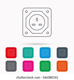 UK socket icon. Electricity power adapter sign. Linear icons in squares on white background. Flat web symbols.