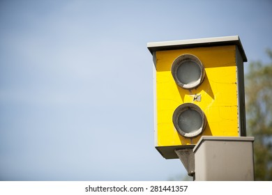 UK Speed Camera with blue sky background