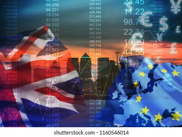 UK Stock graphic background on financial market trade chart