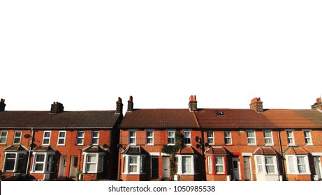UK terrace house Isolated. English real estate with clipping path.