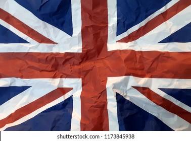 UK United Kingdom England flay crumpled paper disastrously