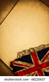 UK -  United kingdom flag and old document papers