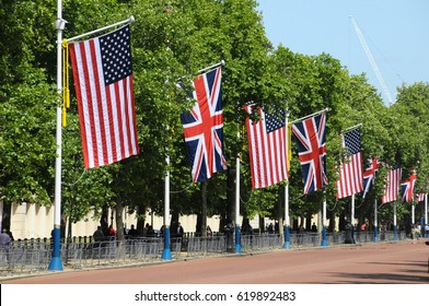 Uk and USA flags on the Mall, London, England