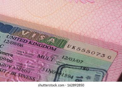 UK visa in passport, closeup
