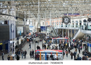 UK Waterloo Station London January 2017 with commuters