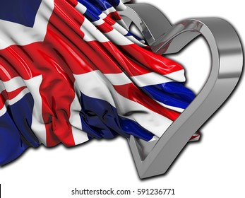 UK wavy flag with heart and white
