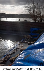 UK Weather, flood defences in the UK following flooding due to winter storms 2020