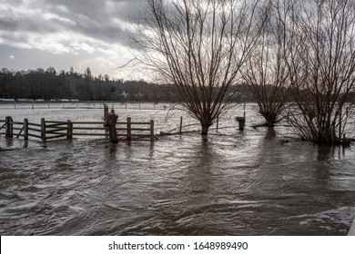 UK Weather, flooded land in the UK following flooding due to winter storms 2020  the river burst it's banks