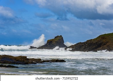 UK Weather: Gale Force Winds Batter the North Cornwall Coastline in the UK. Trevone Bay