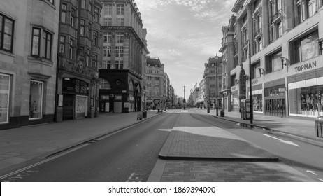 UK West London City - Oxford Street Station - Black and White - 07 April 2020