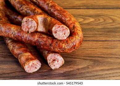ukarinian homemade kielbasa homemade pork sausage, spiral baked