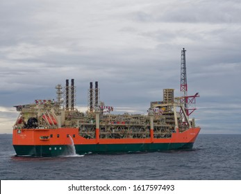UKCS, Scotland - 5th August 2018:  stern view of the starboard side of the Glen Lyon FPSO operating in the Schiehallion Field west of Shetlands on the UK Continental Shelf.
