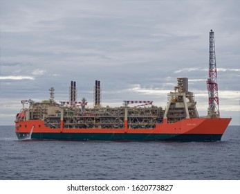 UKCS, Scotland - 5th August 2018: The Glen Lyon FPSO seen from the Bridge of a Seismic Vessel, conducting Oil Exploration Operations near the facility in the Schiehallion Field.