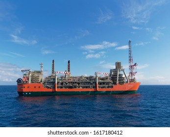 UKCS, Scotland - 8th August 2018: The Starboard side of the Glen Lyon FPSO on a bright sunny day West of the Shetlands, on operations in the Schiehallion Field.