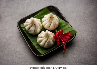 Ukdiche Modak are steamed dumplings with an outer rice flour dough and a coconut-jaggery stuffing, Indian food offered to lord ganesha on Chaturthi