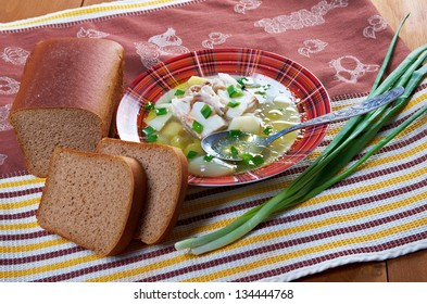 Ukha. Russian home  traditional fish soup.