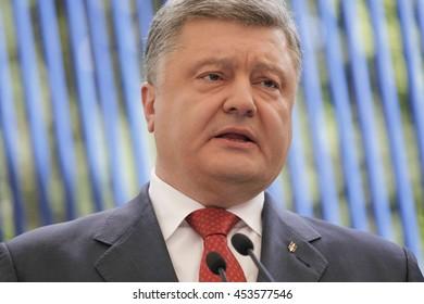 UKIEV, UKRAINE - Jun 03, 2016: Press conference of President of Ukraine Petro Poroshenko in Kiev