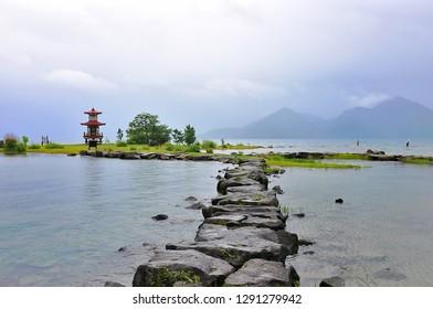 Ukimido Park with Ukimido Pagoda, Lake Toya (Toyako), Hokkaido, Japan.