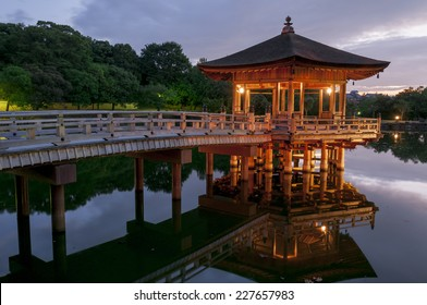 Ukimido Pavilion and the reflections in the pond, Nara, Japan