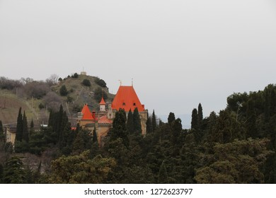Ukraine, Alushta - March 08, 2013: View on Palace of Princess Gagarina. Currently, the palace houses the administrative building of the sanatorium Utes (Cliff).