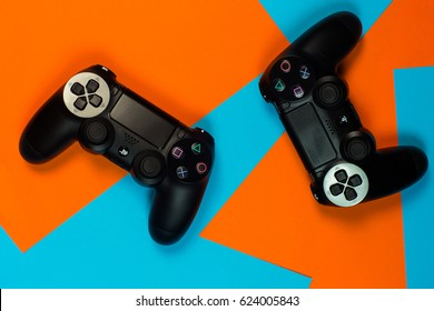 Ukraine - april 18: the new sony dualshock controller for PlayStation 4 On a bright background in KYIV UKRAINE on 18 april 2017.
