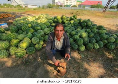Ukraine, August 17, 2012: An unidentified fruit seller on the road between Odessa and Zatoka