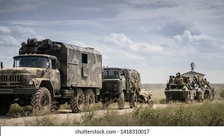 Ukraine, Bashkirov, July 3. 2019 Tactical exercises of the Ukrainian army, in combat vehicles. Military column