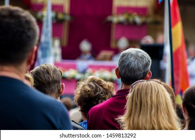 Ukraine, Berdychiv - July 20, 2019: the feast of the Mother of God the Holy Scapular in the All-Ukrainian Sanctuary in Berdichev. people gather for the liturgy of the Italian archbishop Tomazzo Caputo