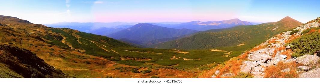 Ukraine - Carpathian Mountains - a stunning panorama. viev