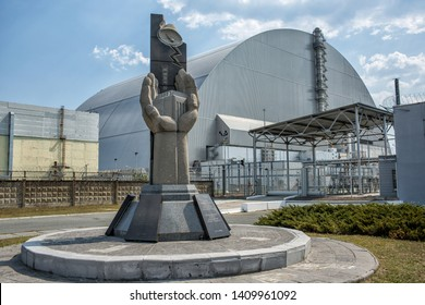 Ukraine, Chernobyl - August 19, 2017: Monument near the fourth power unit of Chernobyl NPP