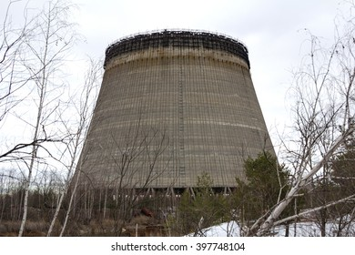 UKRAINE. Chernobyl Exclusion Zone. - 2016.03.20. unfinished tower is near the nuclear power plant