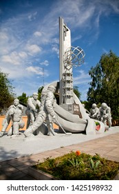 UKRAINE, CHERNOBYL – MAY 26, 2012.  Sculpture of firefighters liquidators, the first to extinguish a fire at the station in Chernobyl April 26, 1986