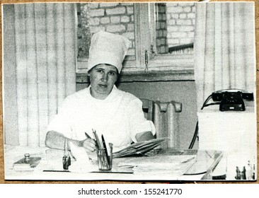 UKRAINE - CIRCA 1964: An antique photo shows nurse of Oncology dispensary Voroshilovgrad, now Lugansk, 1964