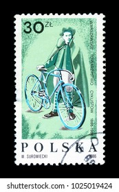 UKRAINE - CIRCA 1986: A stamp printed in Poland devoted 100 years of the Warsaw Society of cyclists, circa 1986