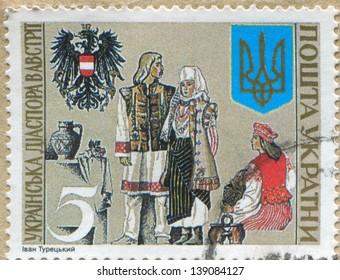 UKRAINE - CIRCA 1992: stamp printed by Ukraine, shows Ukrainian diaspora in Austria, circa 1992