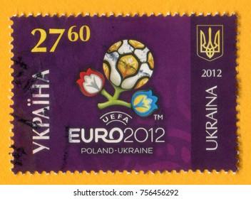 UKRAINE- CIRCA 2012: A post stamp printed in Ukraine shows Football Europe Cup Ukraine/Poland Logo, Euro 2012, UEFA (27 grn. 60 k.), circa 2012