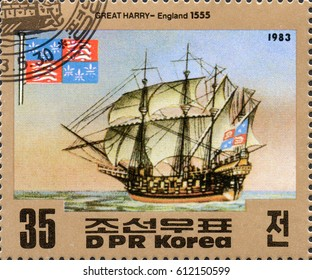 UKRAINE - CIRCA 2017: A postage stamp printed in DPR North Korea shows old sailing ship Great Harry - England 1555, circa 1983