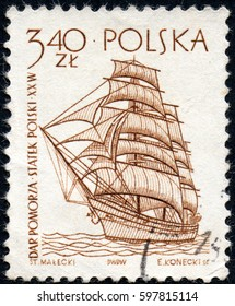 UKRAINE - CIRCA 2017: A stamp printed in Poland shows a historic frigate ship built in 1909, circa 1963