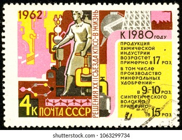Ukraine - circa 2018: A postage stamp printed in USSR show propaganda poster Chemicals, oil and statistics. Forecast until 1980. Series: Resolution of 22nd Communist Party Congress. Circa 1962.