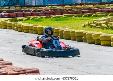 UKRAINE, DNEPROPETROVSK - APRIL 29/2017: in the city park of Chkalov there were karting competitions among children.