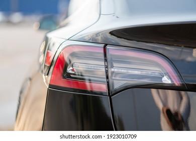 Ukraine, Dnipro - June 20, 2020: Tesla car taillights