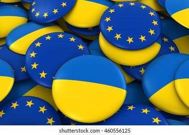 Ukraine and EU Badges Background - Pile of Ukrainian and European Flag Buttons 3D Illustration