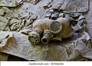 UKRAINE. Exclusion Zone. Chernobyl. Pripyat. - 2012.09.19. Infected radiation masks.