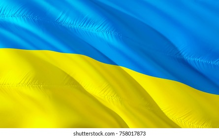 Ukraine flag. Flag of Ukraine. 3D Waving flag design. Blue and yellow flag. 3D rendering.