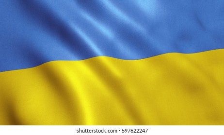 Ukraine flag background with fabric texture.