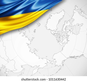 Ukraine flag of silk  and world map background-3D illustration