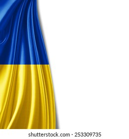 Ukraine flag and white background
