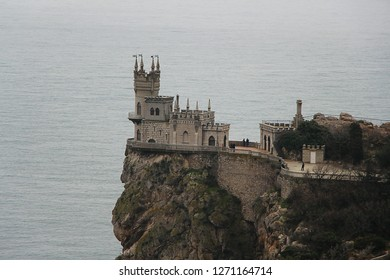 Ukraine, Gaspra - March 10, 2013: View on Swallow's Nest. It's a decorative castle located at Gaspra. It was built between 1911 and 1912, on top of the 40-metre (130 ft) high Aurora Cliff.