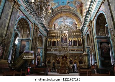 UKRAINE, IVANO-FRANKIVSK, FEBRUARY 23, 2017: People inside Greek Catholic Cathedral of the Holy Resurrection in Ivano-Frankivsk city, western Ukraine